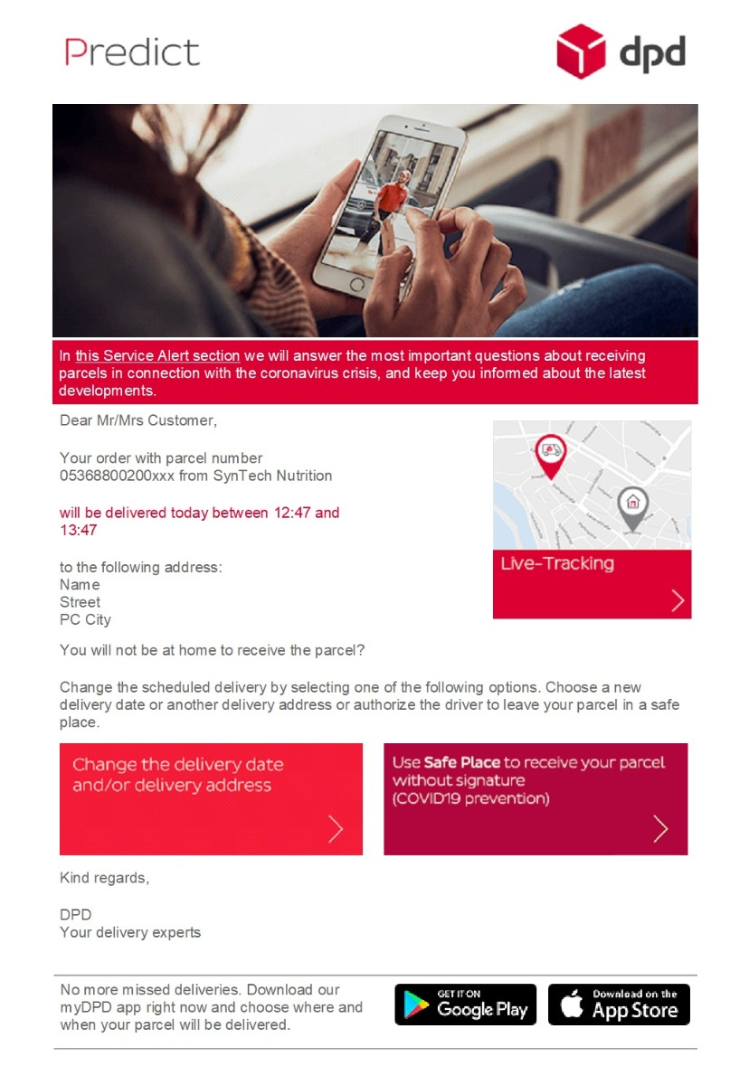 DPD Email example
